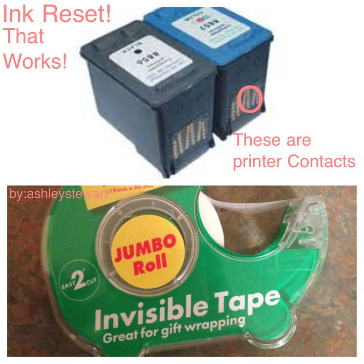 Reset Printer Ink! Yes, this one works, all you need is a tiny piece of scotch tape, a very tiny piece. You place a tiny piece over one of the contacts of the printer (we had our scotch tape on the top contact second row, but I don't think it matters, but if it does play around with it because after all you are saving money) then we inserted the cartridge in the printer. Let it align itself, then took it out took the tape off put the cartridge back in hit print and it printed!!!  Yes that…