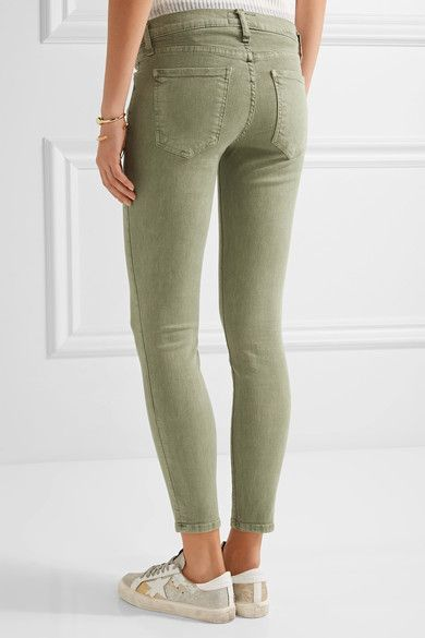 Current/Elliott - The Stiletto Mid-rise Skinny Jeans - Army green - 25