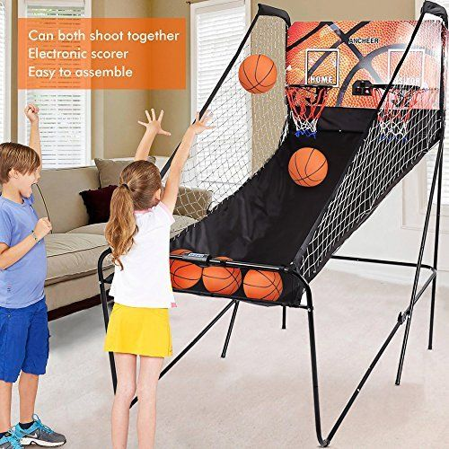Ancheer Electronic Dual Basketball Hoop Arcade Game - 2 player Basketball Shot Game Indoor & 5 Balls- for Kids and Adults