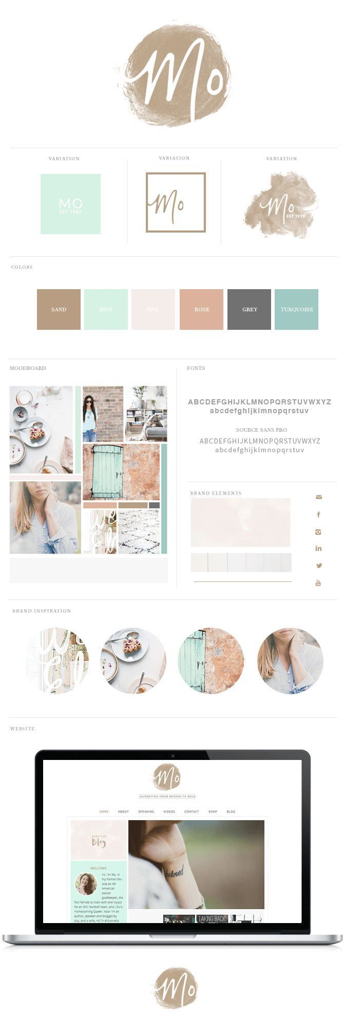 Brand + Website Design for @Mo Isom (www.moisom.com). Watercolor texture logo | Mint, Sand, Rose, Pink, Grey and Turquoise color palette.