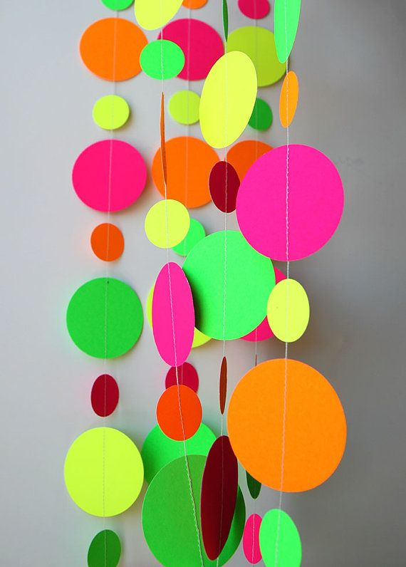 Neon decorations, Hawaiian party, Birthday party decor, Pink orange yellow green neon garland, Summer decoration, K-C-0045