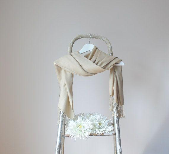 Beige Shawl Sand Color Wrap Wedding Shawl Solid by RosaShawls