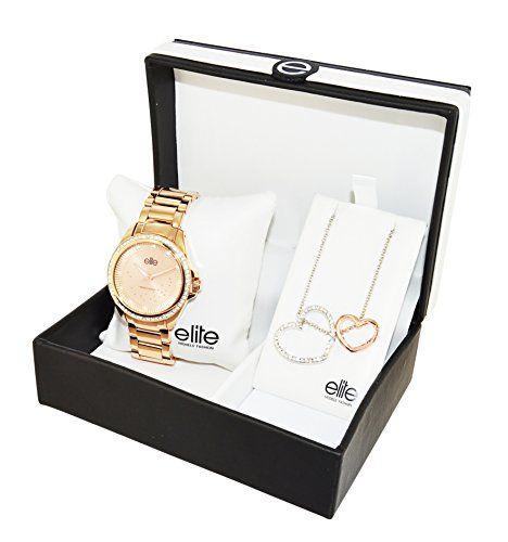 Elite Models' Fashion – Coffret de Noël – E53530G-812 – Montre Femme – Quartz Analogique – Cadran Rose – Bracelet Acier Rose + Collier Coeurs