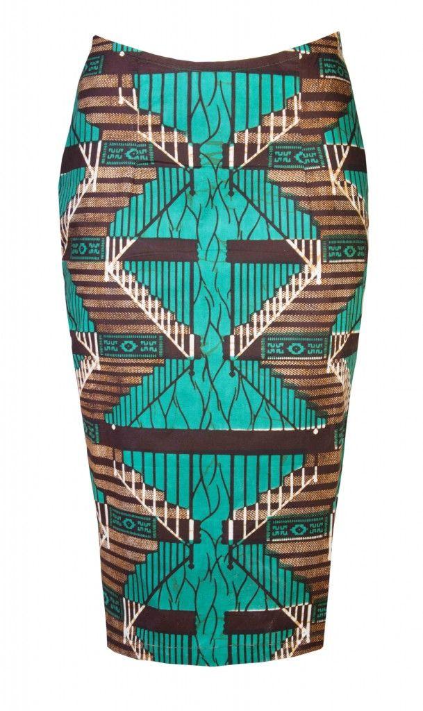 African print pencil skirt