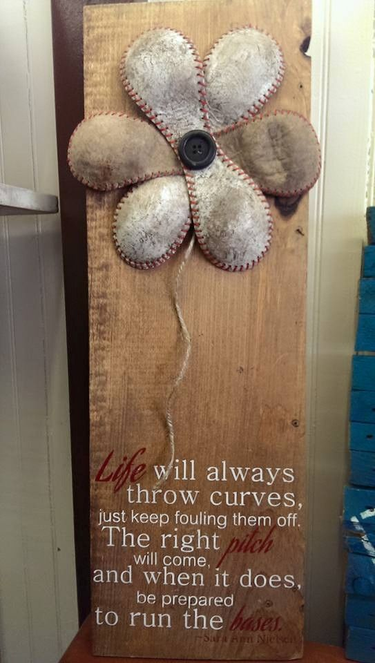 Nostalgia - Handmade Baseball Sign. Such an awesome idea!!!
