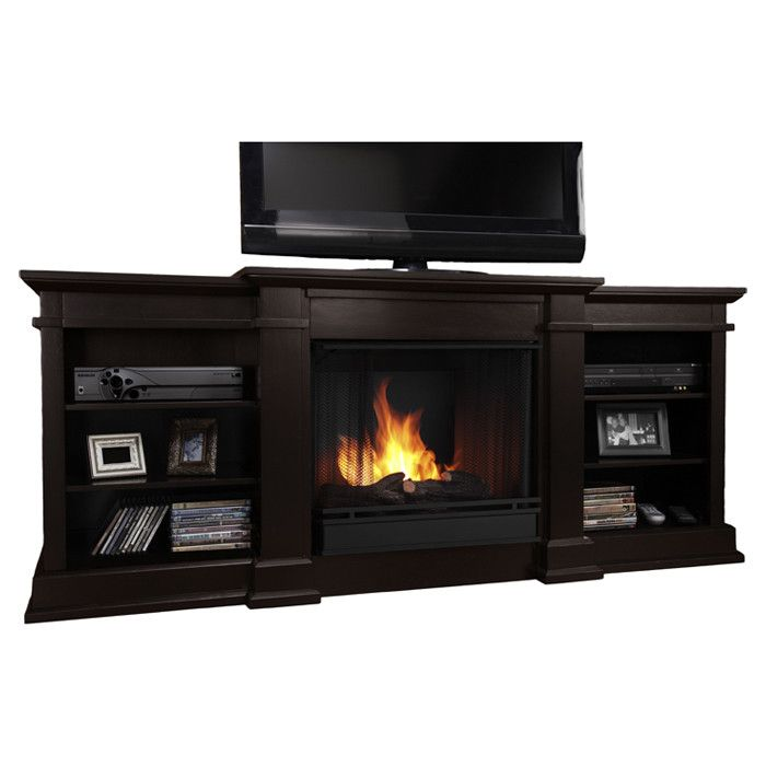 Real Flame Fresno 72 TV Stand With Gel Fuel Fireplace Reviews W