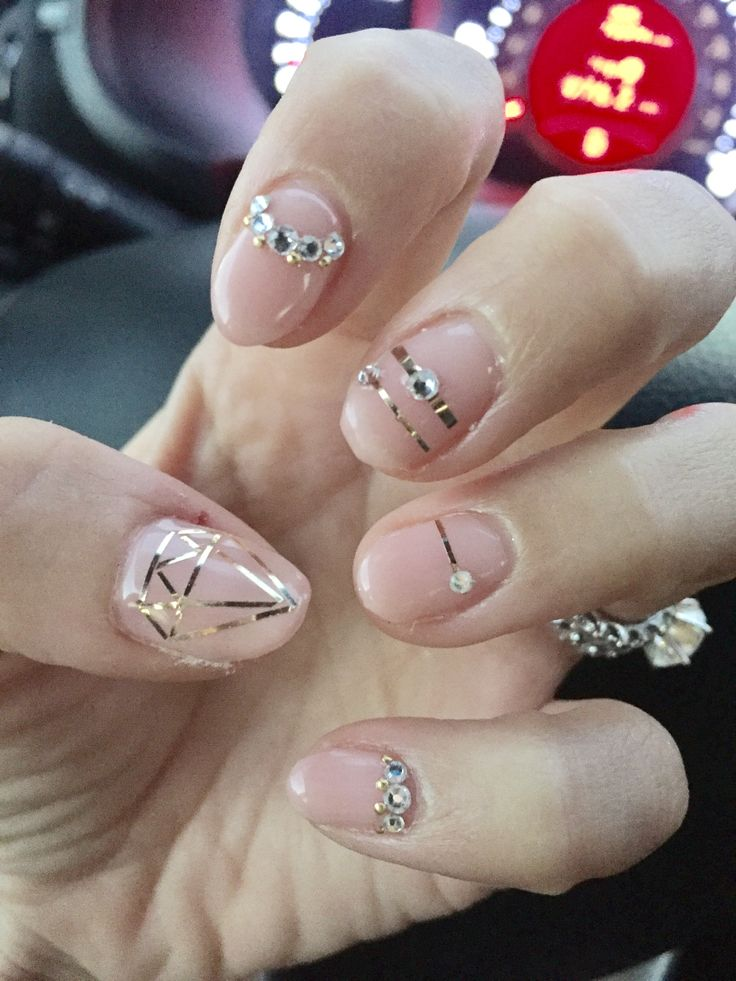 34 best my nails images on pinterest gel nail designs nails gel design nude pink nails with swarovski crystals rose gold tape and gold prinsesfo Choice Image