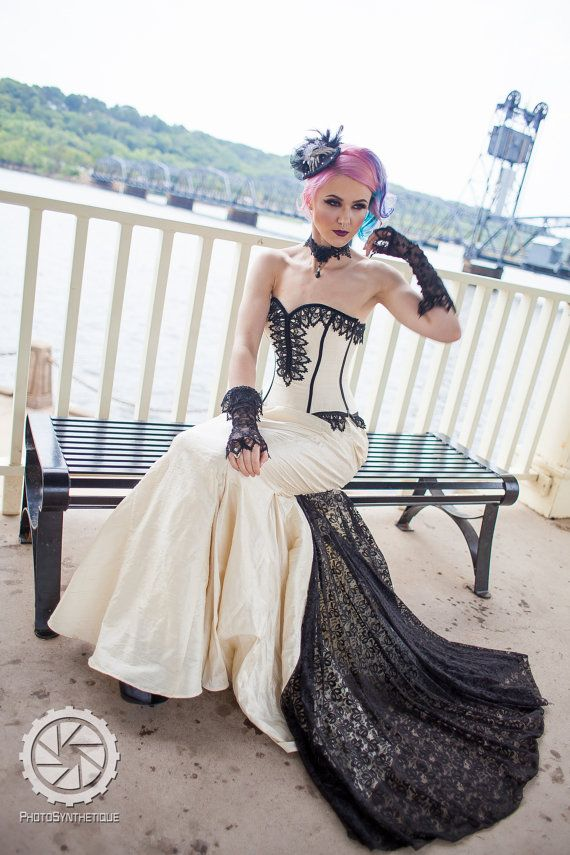SAMPLE Sale Mermaid Wedding Dress Steampunk Cream by KMKDesignsllc, $885.00