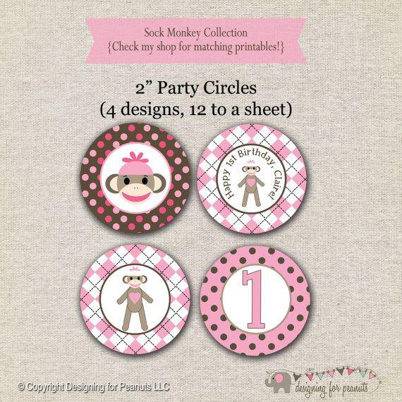 Sock Monkey Party Circles  pink  Sock by designingforpeanuts
