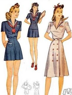 40s Sailor Girl playsuit - skirt, shorts, top Simplicity 3673 Pattern Back: http://www.pinterest.com/pin/83879611785431513/