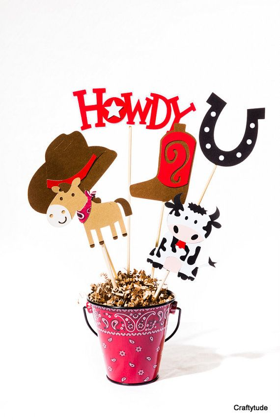 Cowboy Party Farm party Centerpiece Sticks Cowboy by Craftytude