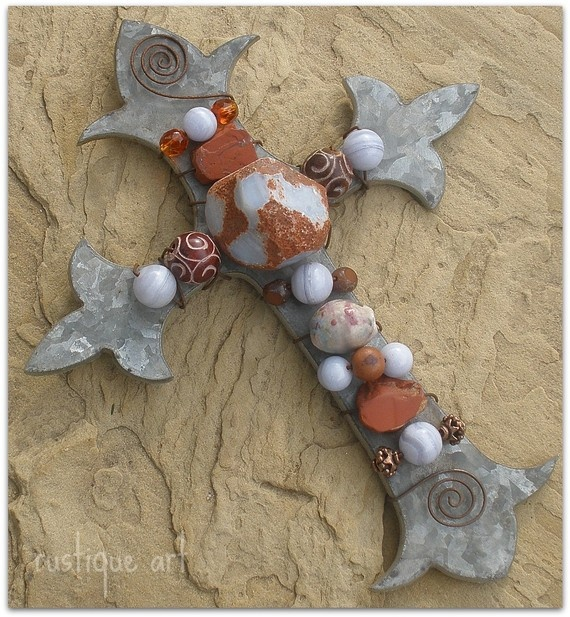 Galvanized Steel Fleur de Lis  Wall Cross~  Beautifully textured agate nugget is the focal of this design, blue lace agate round beads,carved bone beads,a ceramic barrel beads, crystal and copper beads are wrapped on this cross with rust wire, hanging loop is added into design for easy addition to wall, but lays flat if you desire to place on in a tablescape.Ceramics Crosses, Lis Wall, Wall Crosses, Ceramics Barrels, Flower, Blue Lace, Galvanized Finish, Beautiful Crosses, De Lis