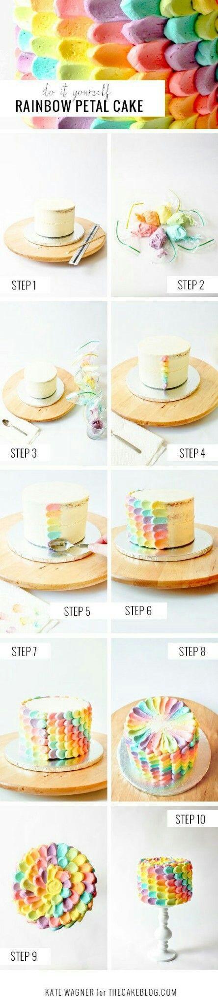 Petal cake, Rainbow petal cake and Rainbows on Pinterest