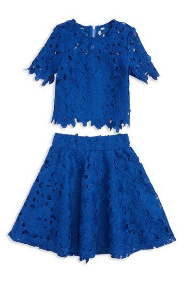 Miss Behave 'Casey' Lace Top & Skirt (Big Girls)