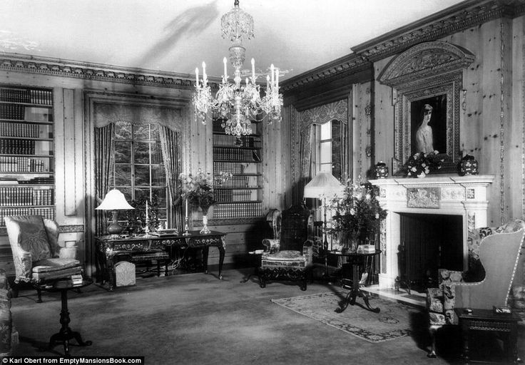 Lavish: The library at Bellosguardo, the Clark summer home in Santa Barbara, is pictured in 1940..