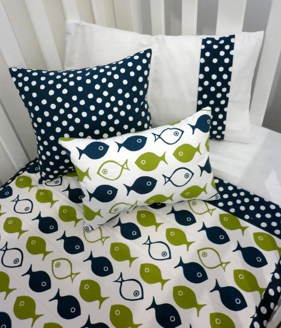 Fish Pillow in Ink Blue and Green Sprout design by AlphabetMonkey, $20.00