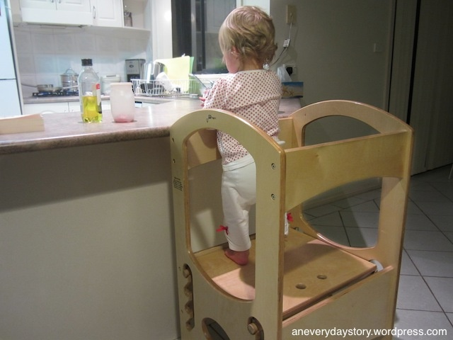 montessori learning tower toddler 18 months in the kitchen