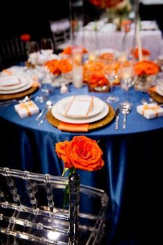 orange and blue wedding reception decor