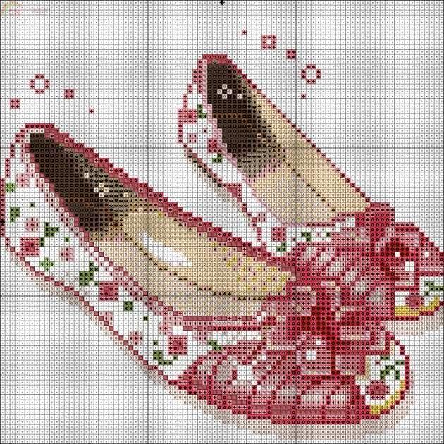 0 point de croix pantoufles, ballerines - cross stitch shoes, slippers