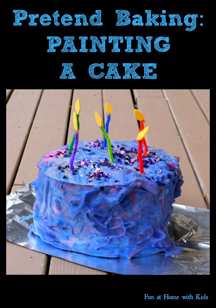 Pretend Baking: Painting a 3D Cake from Fun at Home with Kids. This is a great idea and would be perfect for making a pretend birthday cake for kids who are tube-fed or on a very restricted diet.