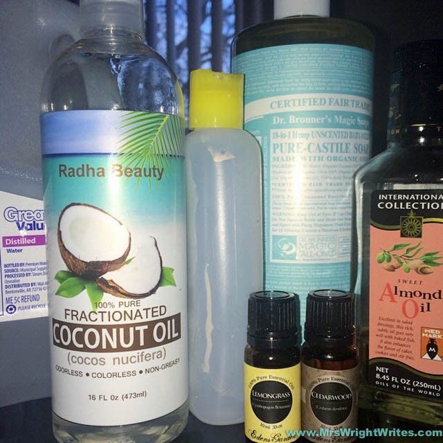 DIY Men's Body Wash - 1/2 c Distilled Water, 1 Cup Castile Liquid Soap, 1 Cup of Fractionated Coconut Oil/Almond Oil mix, 1 tsp salt, 20-30 drops of your favorite essential oils, 1 tsp of Kosher/Epsom Salt (The Man's Man= 1 part patchouli, 2 parts bergamot, 1 part cedarwood) (made 1/2 recipe for Ted 3/25/16 mhh)