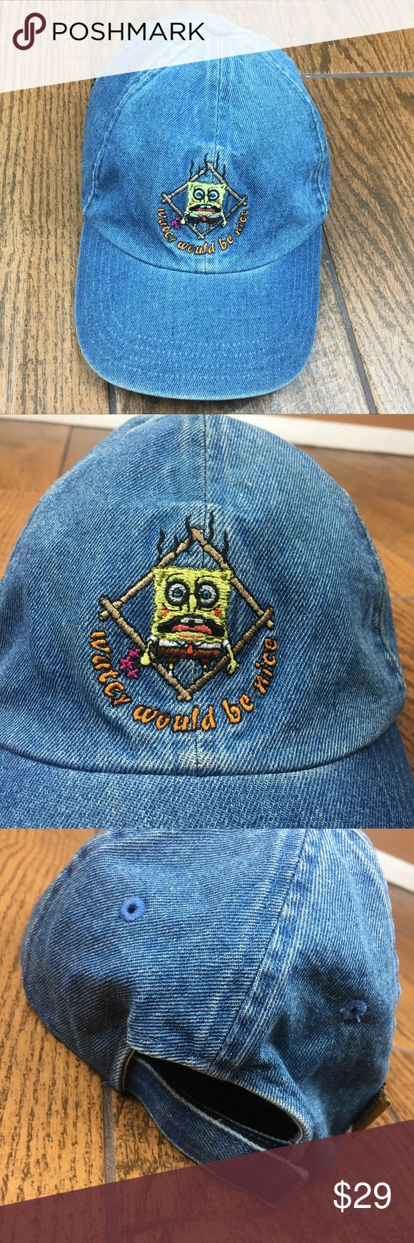 Spongebob Squarepants Denim Hat Nickelodeon Cap Nickelodeon Spongebob Squarepants Denim Baseball Hat Unisex Velcro back 'Water Would Be Nice' Embroidered graphic Circa 2004  OFFERS ACCEPTED Add to a bundle for an automatic discount  Colors may vary due to lighting, seller does its best to portray the right color. Please inspect all photos.  #K025 Nickelodeon Accessories Hats