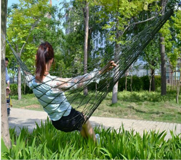 1Pc Sleeping Hammock Bold Nylon Rope Swing Bed Sleeping Bag Portable  Outdoor Camping Travel Chair Swing