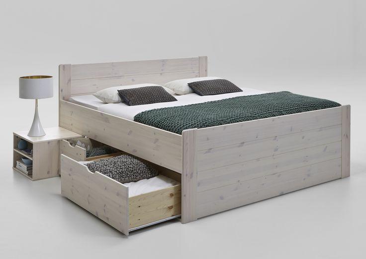 Letto matrimoniale contenitori in legno pino massiccio sbiancato laccato 180 x 200 | mobiliarredoline