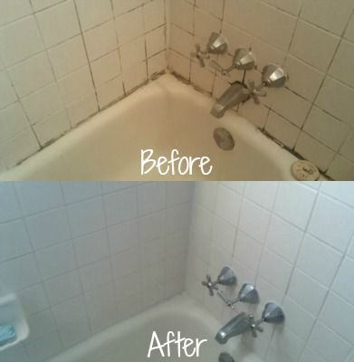 Before and after of cleaning and removing mildew stains from grout using X-14 mildew stain remover {on Stain Removal 101}