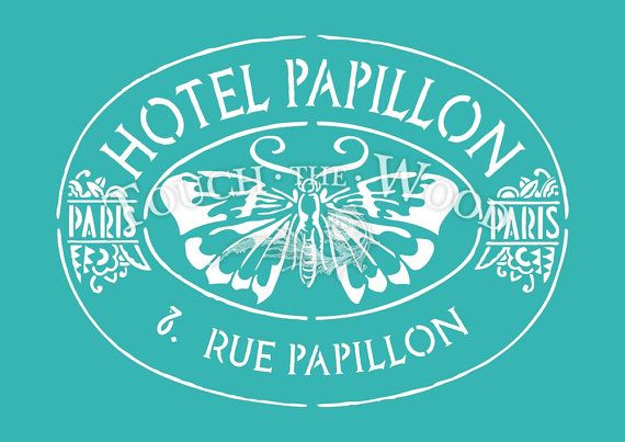 Shabby Chic STENCIL: Old French Hotel Papillon (Furniture Print Transfer) #007