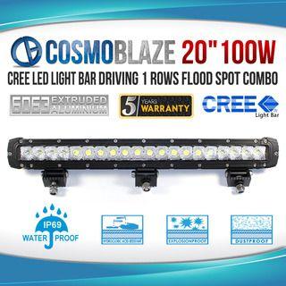 "Cosmoblaze 20"" 100W CREE LED Light Bar Driving WORK FLOOD SPOT COMBO 4WD 6063 AL"
