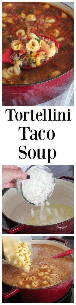 Tortellini Taco Soup Recipe, makes the perfect quick fix dinner! @oldelpaso #sponsored