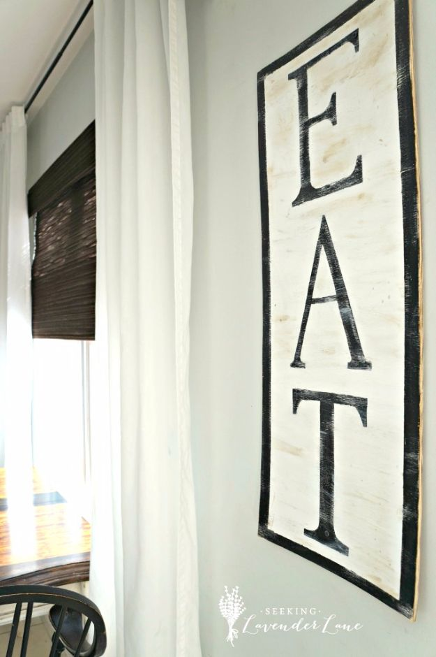 DIY Farmhouse Style Decor Ideas for the Kitchen - DIY Eat Sign - Rustic Farm House Ideas for Furniture, Paint Colors, Farm House Decoration for Home Decor in The Kitchen - Wall Art, Rugs, Countertops, Lights and Kitchen Accessories http://diyjoy.com/diy-farmhouse-kitchen