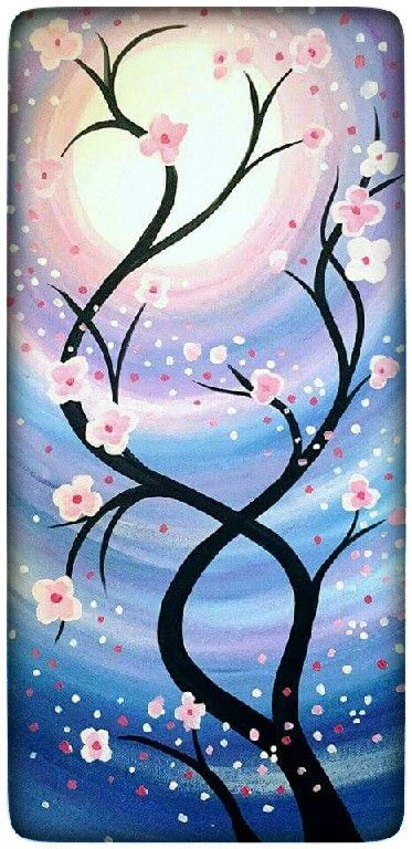 Pink flower tree branches and swirled moonlight or sunset painting idea. Paint and Vino