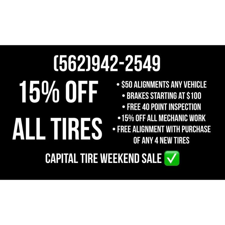 Black Friday Sales TEXT FOR FREE QUOTE  Capital Tire Center  7801 Rosemead Blvd Pico Rivera CA 90660 (562)942-2549  BIG SALE!! 11/20 - 11/25  FREE 40 POINT VEHICLE INSPECTION  WE FINANCE ! NO CREDIT NEEDED! FREE Alignment with purchase of 4 new tires.   Brakes  Suspension  Alignments Maintenance  Tune-ups  New Tires  Used Tires  Tire Lettering  Wheels & More  #capitaltirecenter #picorivera #tireletters #power106 #krispykremetuesdays #cleanculture #tireshop  #aautomotive #montebello #whittier…