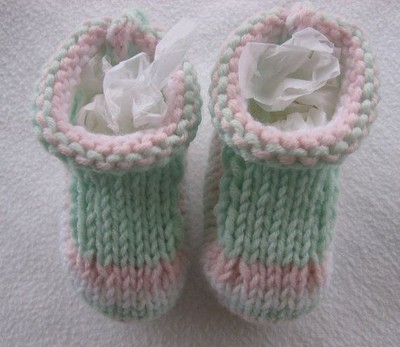 Baby Booties. Handknit. Mint Green Pink and White by NoahandNoo, $13.50