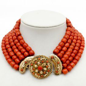 Exceptional 19th Century 5 Strand Red Coral Necklace - Exceptional color and quality, clasp is 14K gold also set with red coral and from the Walcheren area of the Netherlands