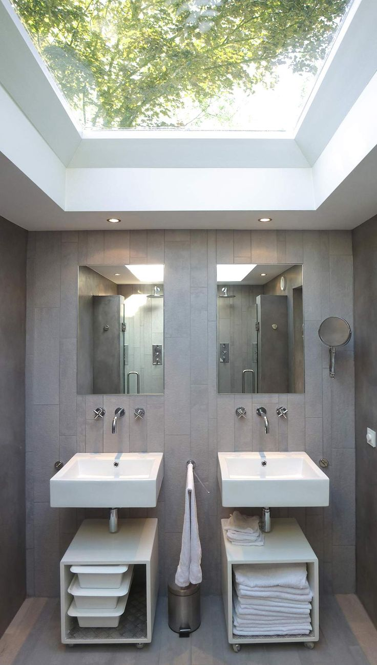 Grey Bathroom, Double Sinks  Showers, Unique Loft Conversion in The Netherlands