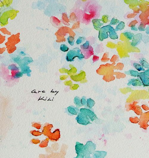 Watercolor puppy paw print painting