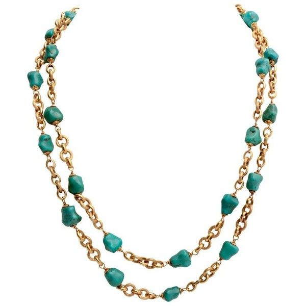 Gold Chain Necklace With Turquoise Chunks (70,545 EGP) ❤ liked on Polyvore featuring jewelry, necklaces, multiple, yellow gold chain necklace, long gold necklace, 18k gold necklace, turquoise jewelry and chunky chain necklaces
