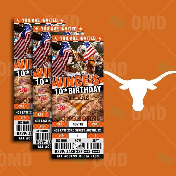 "2.5x6"" Texas Longhorns Sports Party Invitation, Sports Tickets Invites, TU Football Birthday Theme Party Template by sportsinvites"