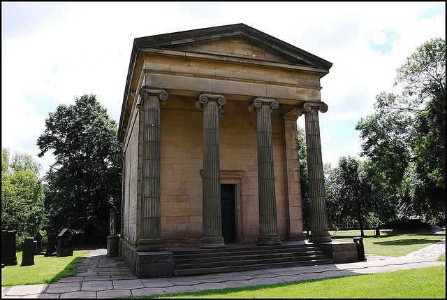 © phill.d The grand Victorian chapel in St Georges field now stands in an area eaten up by the Leeds university. It opened in the 1830's and was originally called the Leeds general cemetery.
