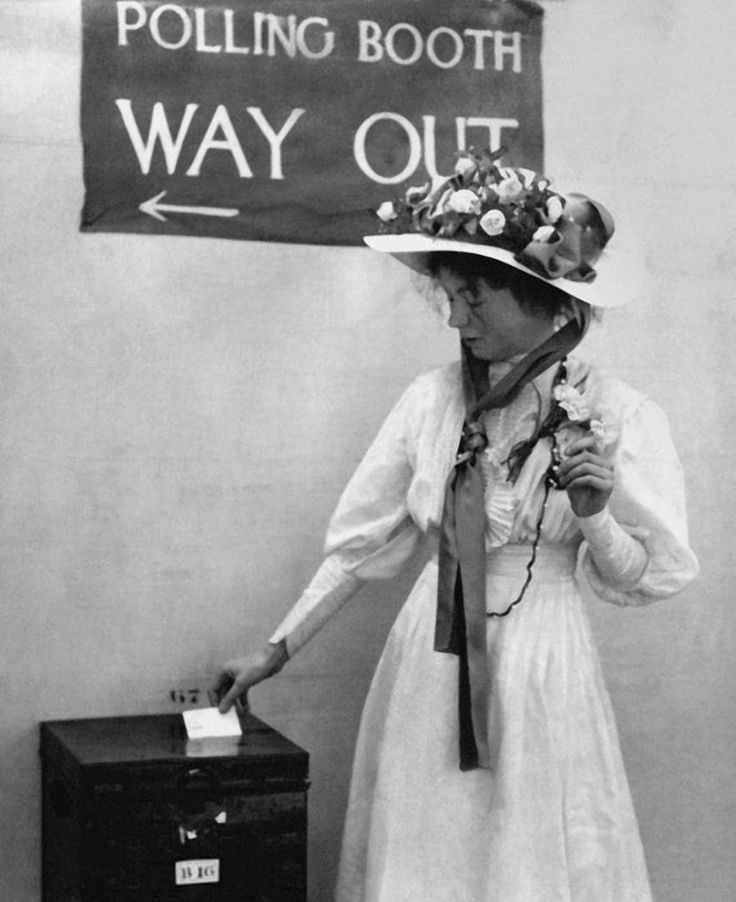Suffragette Christabel Pankhurst in a Polling Booth during the UK General Election of December 1918.