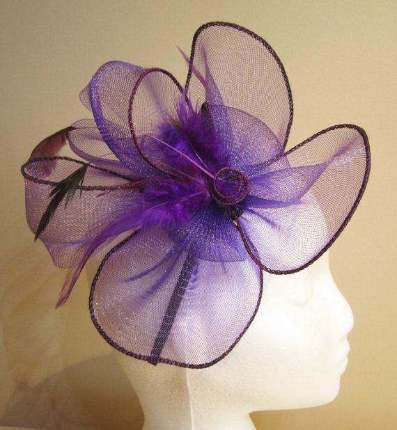 Purple fascinator with purple and black feathers by WhiteBea