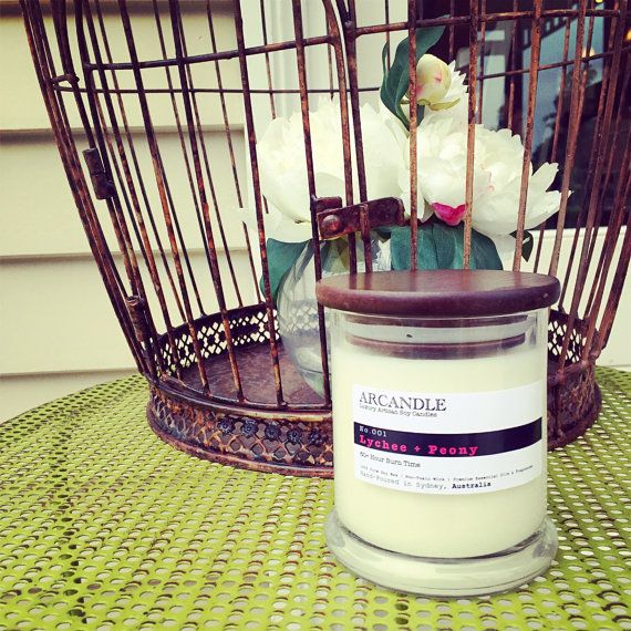 Lychee Peony. Large Soy Candle. by ArcandleSoyCandles on Etsy