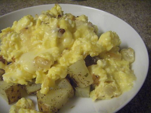 Onion Egg Scramble over Rosemary Roasted Potatoes More for breakfast ...