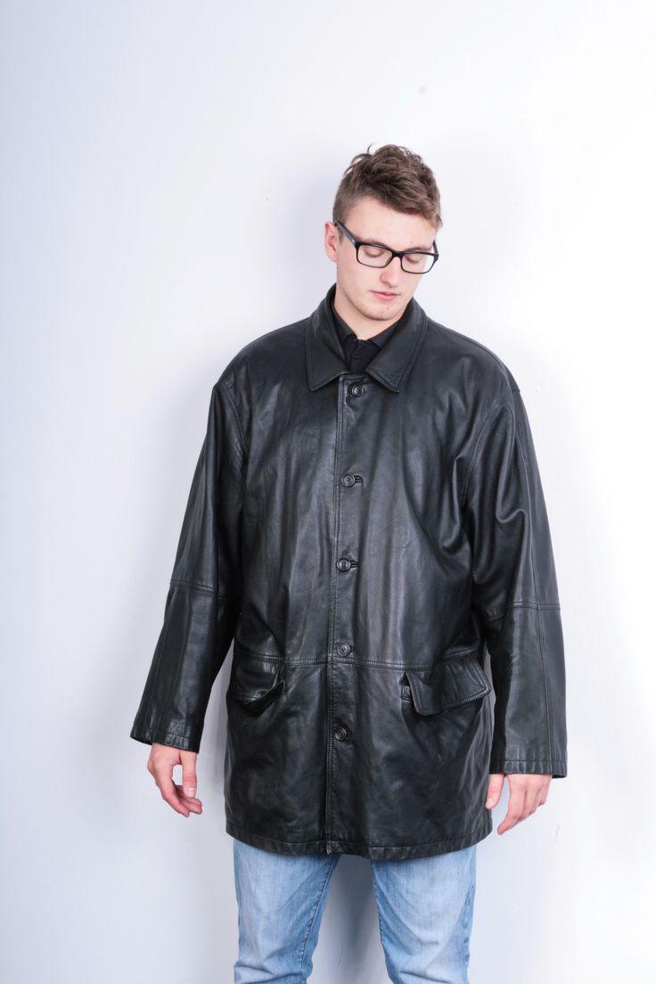 Burrberry London Mens 56 XL Coat Black Leather Vintage