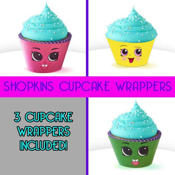 3 Cupcake Wrapper Shopkins Birthday Party Cas