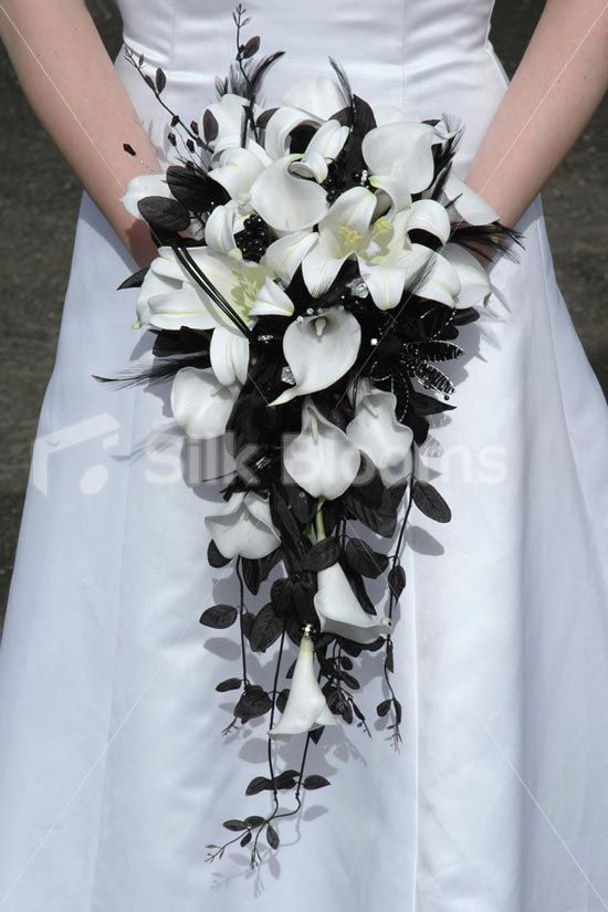 Gorgeous, Modern White Calla Lily & Easter Lily Bridal Bouquet