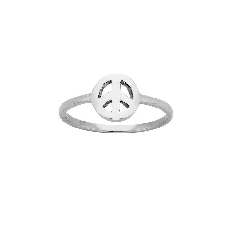 Mini Peace ring - $49. Thin and delicate ring crafted in 925 sterling silver, with small cutout peace sign feature detail. KW and 925 stamped on the inside of ring. Lovingly created by New Zealand clothing and accessories designer label Karen Walker. www.savethelastpinker.com.au/shop/mini-peace-ring/